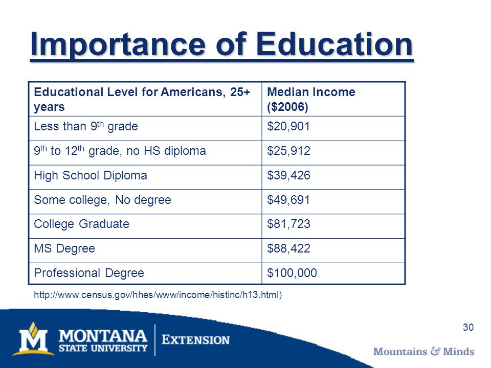 30 Importance of Education Educational Level for Americans, 25+ years Median Income ($2006) Less than 9 th grade$20,901 9 th to 12 th grade, no HS dip