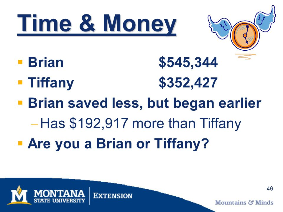 46 Time & Money Brian$545,344 Tiffany$352,427 Brian saved less, but began earlier – Has $192,917 more than Tiffany Are you a Brian or Tiffany?