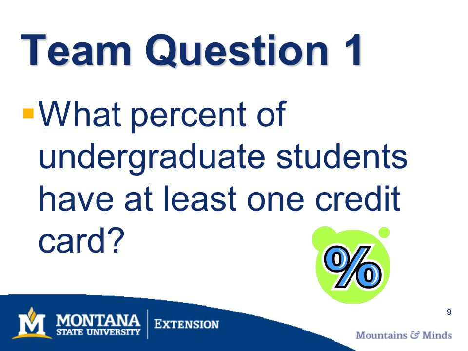 10 Percent of students with one credit card 83%