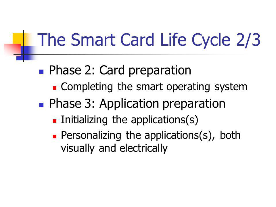 The Smart Card Life Cycle 2/3 Phase 2: Card preparation Completing the smart operating system Phase 3: Application preparation Initializing the applications(s) Personalizing the applications(s), both visually and electrically