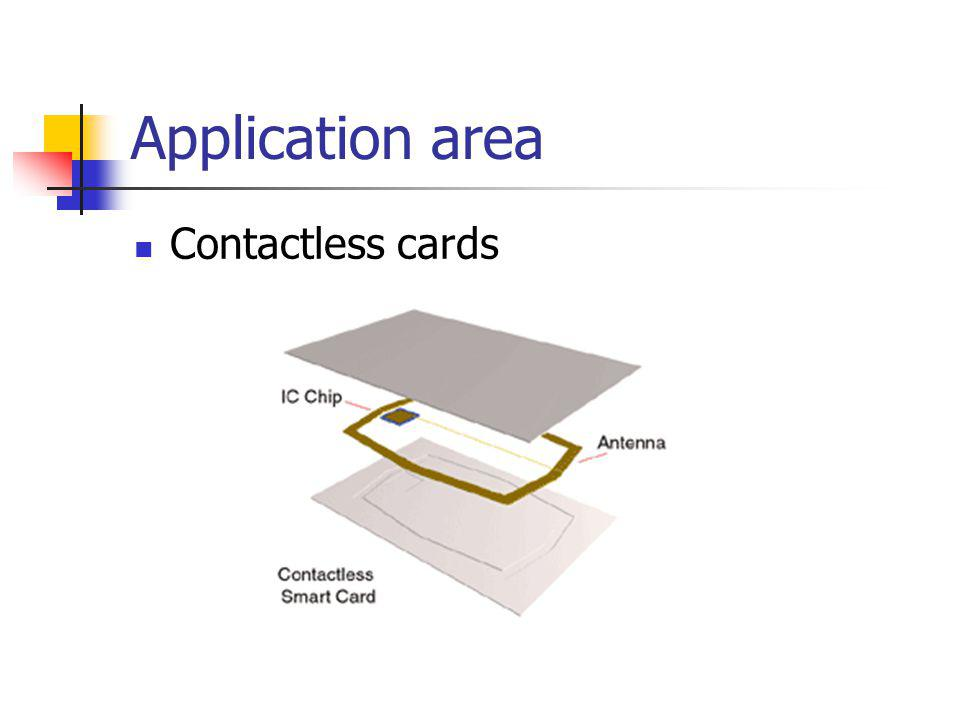 Application area Contactless cards