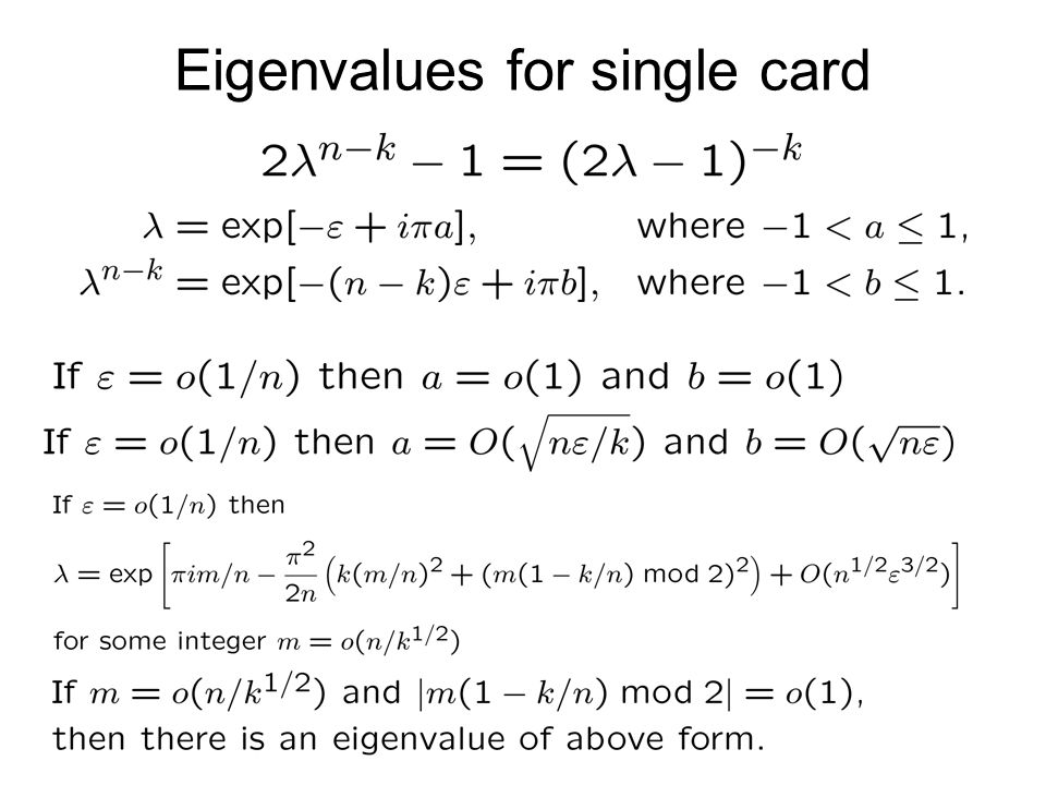 Eigenvalues for single card