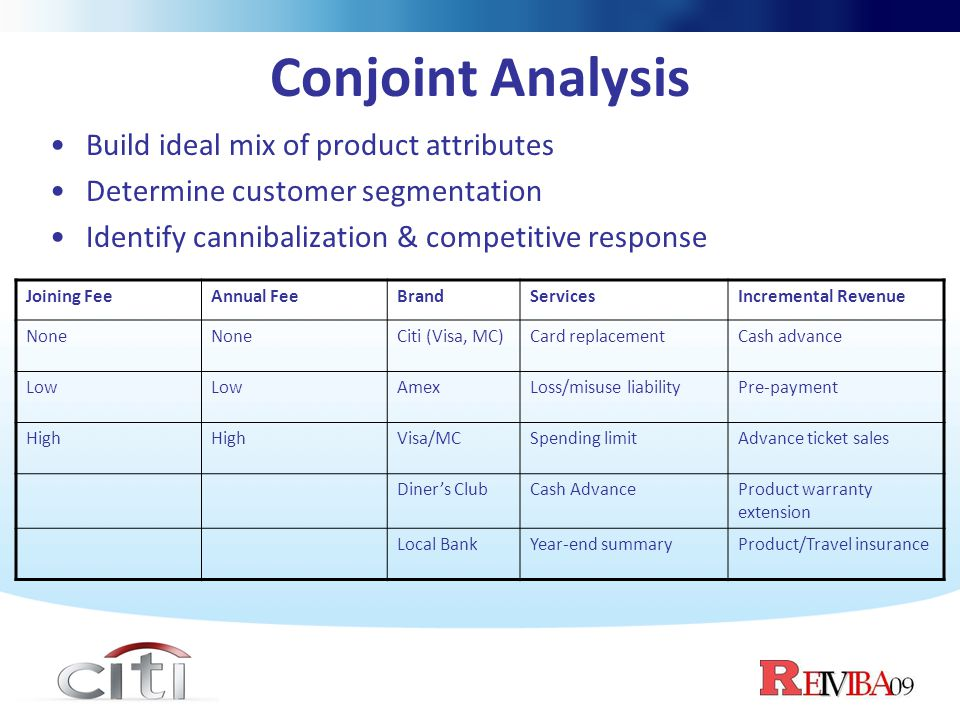 Conjoint Analysis Build ideal mix of product attributes Determine customer segmentation Identify cannibalization & competitive response Joining FeeAnn