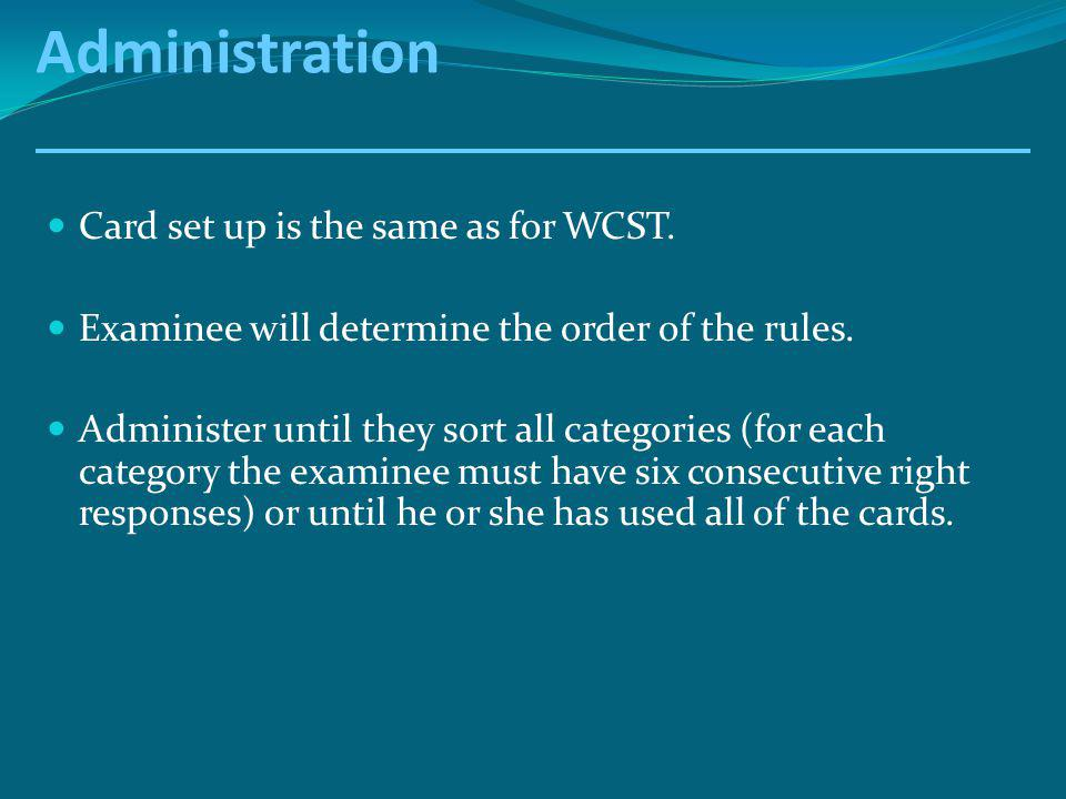 Administration Card set up is the same as for WCST.