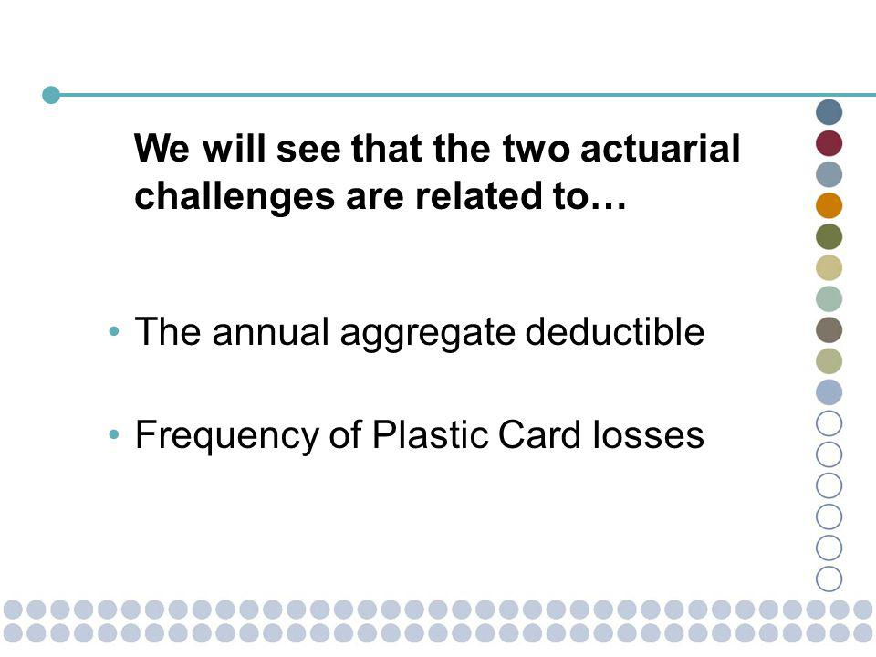 The annual aggregate deductible Frequency of Plastic Card losses We will see that the two actuarial challenges are related to…