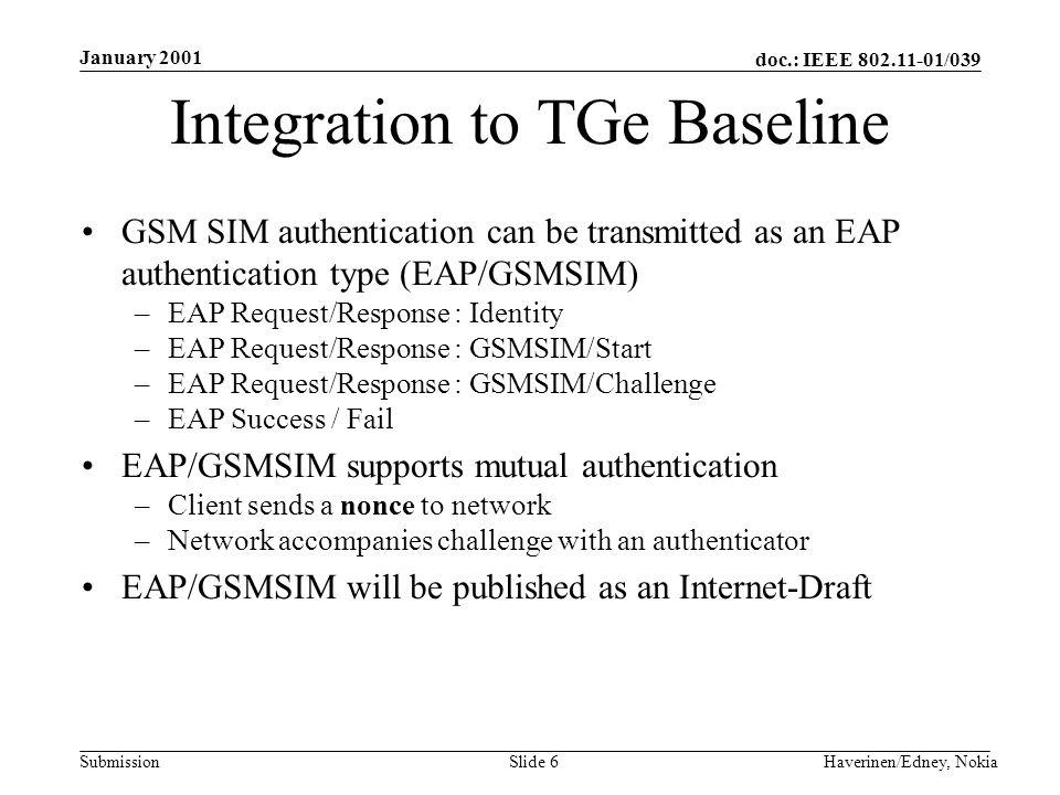 doc.: IEEE 802.11-01/039 Submission January 2001 Haverinen/Edney, NokiaSlide 6 Integration to TGe Baseline GSM SIM authentication can be transmitted a