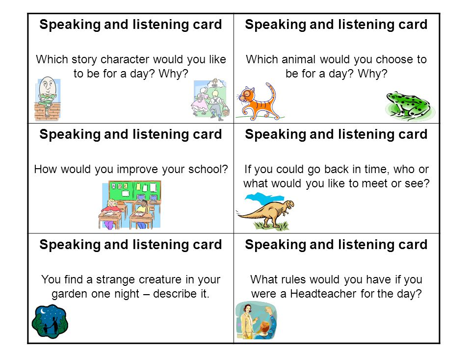 Speaking and listening card Which story character would you like to be for a day.