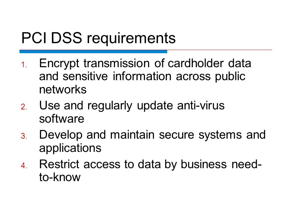 PCI DSS requirements 1.