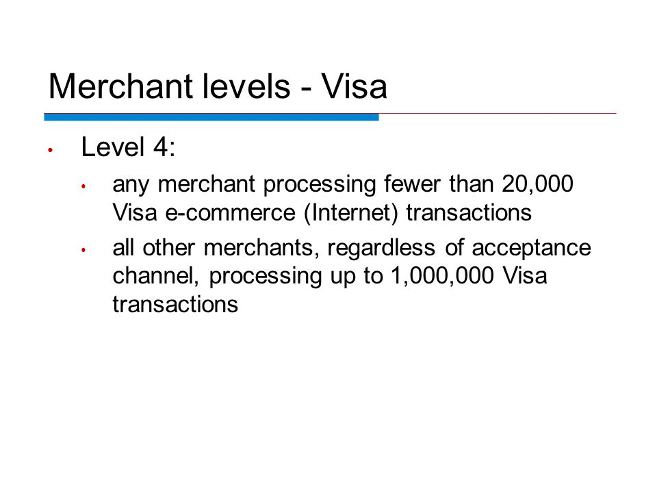 Merchant levels - Visa Level 4: any merchant processing fewer than 20,000 Visa e-commerce (Internet) transactions all other merchants, regardless of acceptance channel, processing up to 1,000,000 Visa transactions