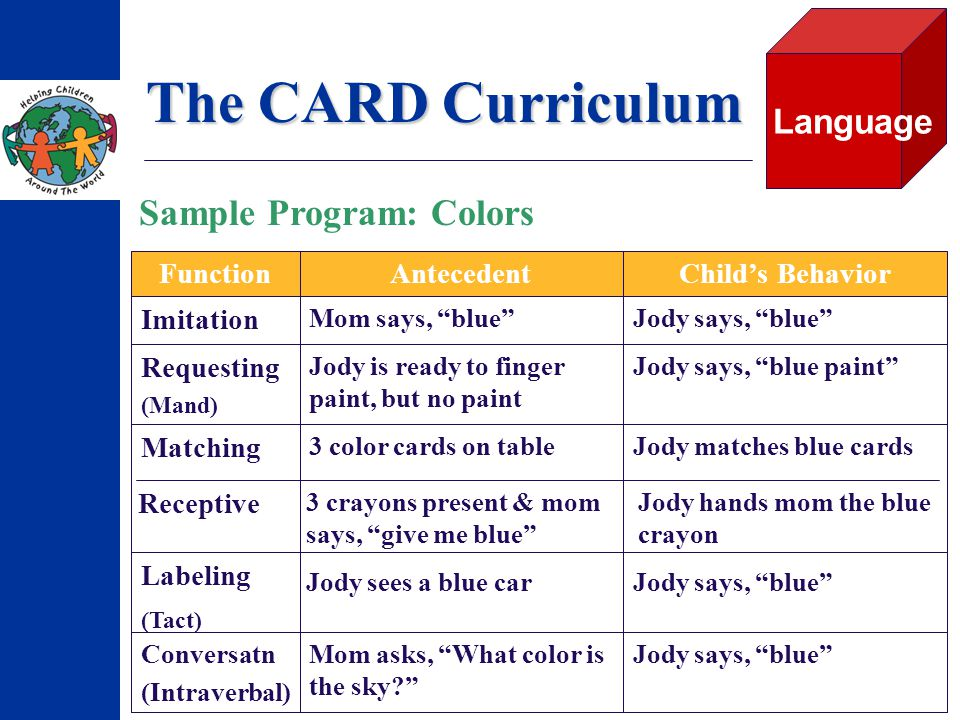 The CARD Curriculum Jody hands mom the blue crayon 3 crayons present & mom says, give me blue Receptive Jody matches blue cards3 color cards on table