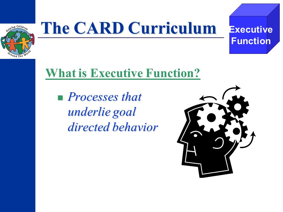 The CARD Curriculum Processes that underlie goal directed behavior Processes that underlie goal directed behavior Executive Function What is Executive