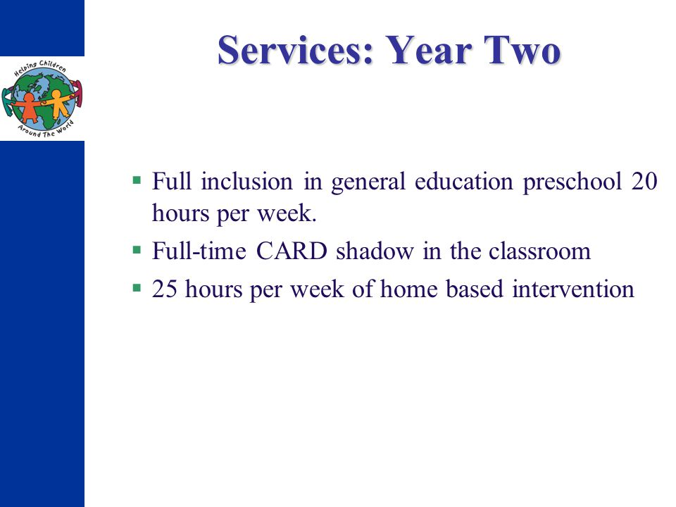 Services: Year Two Full inclusion in general education preschool 20 hours per week. Full-time CARD shadow in the classroom 25 hours per week of home b