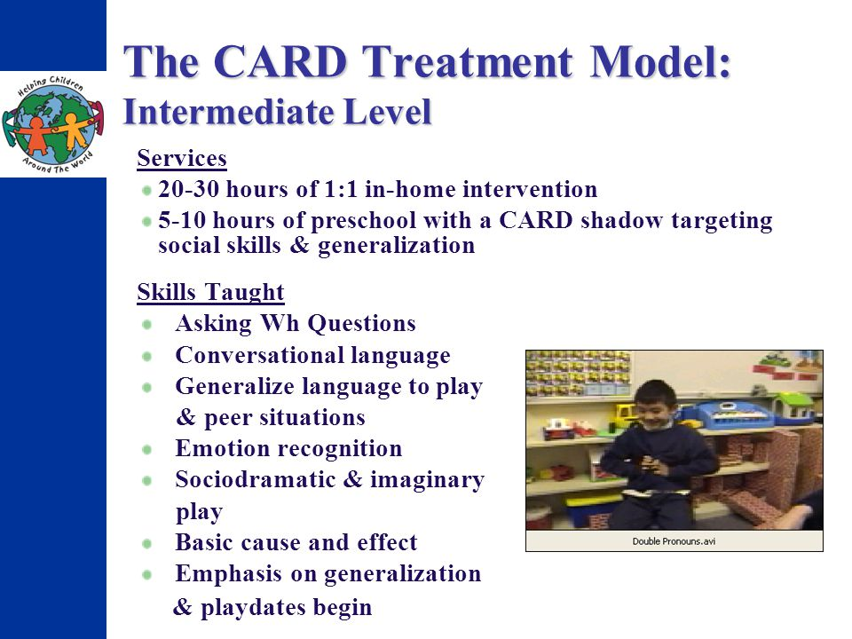 The CARD Treatment Model: Intermediate Level Skills Taught Asking Wh Questions Conversational language Generalize language to play & peer situations Emotion recognition Sociodramatic & imaginary play Basic cause and effect Emphasis on generalization & playdates begin Services 20-30 hours of 1:1 in-home intervention 5-10 hours of preschool with a CARD shadow targeting social skills & generalization