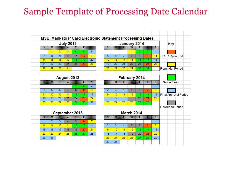 Sample Template of Processing Date Calendar