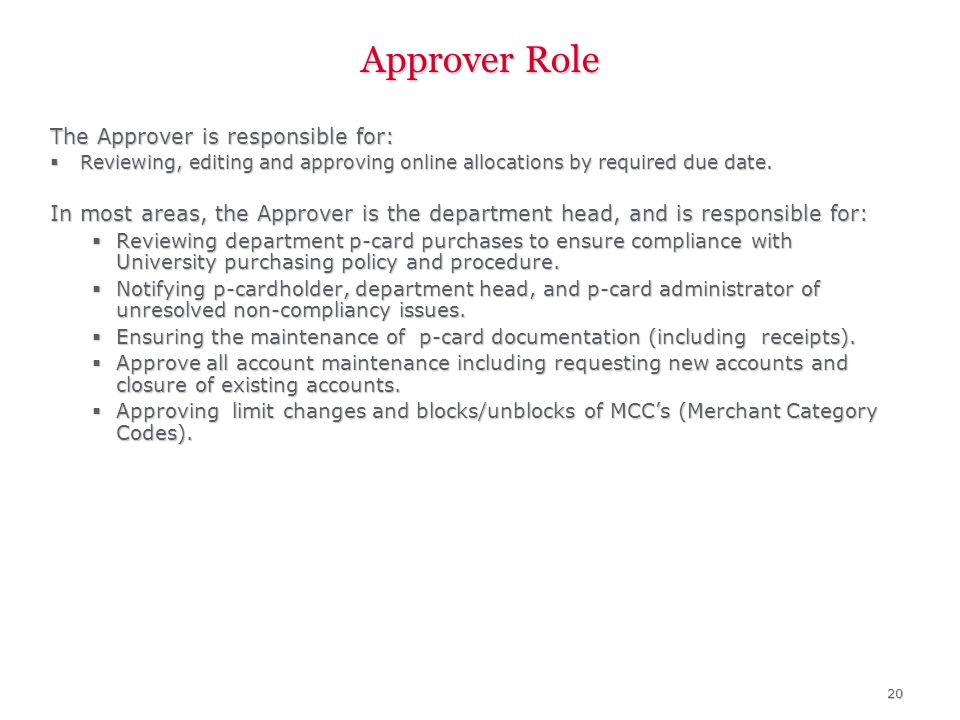 20 Approver Role The Approver is responsible for: Reviewing, editing and approving online allocations by required due date.