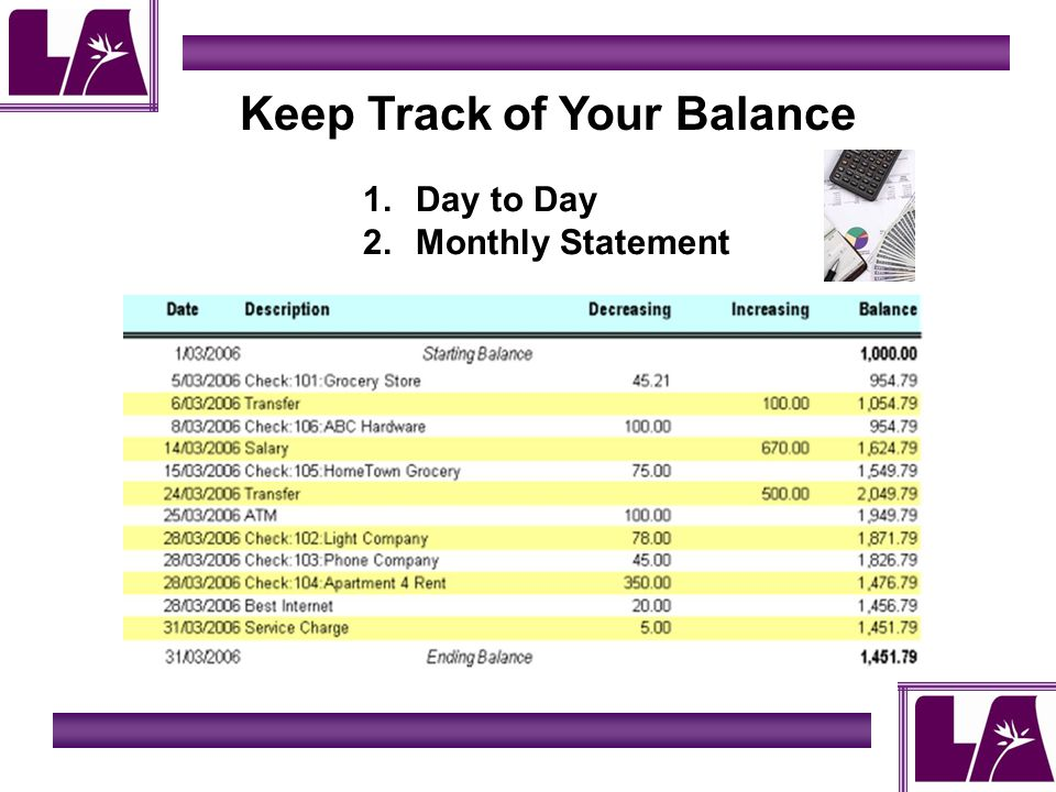 Keep Track of Your Balance 1.Day to Day 2.Monthly Statement