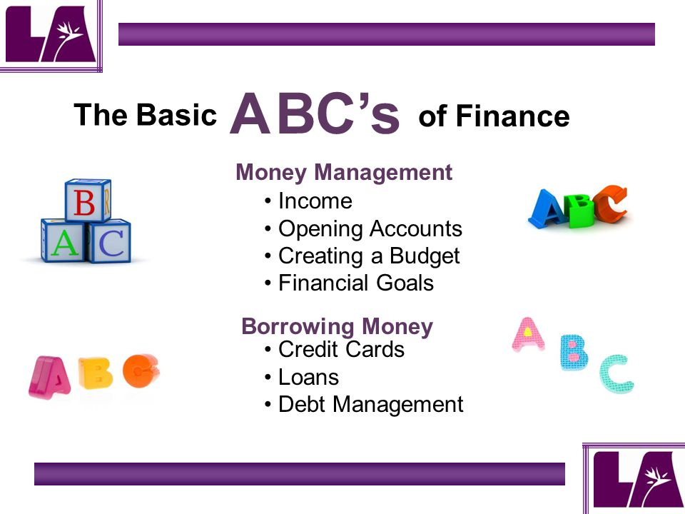 The Basic ABCs of Finance Income Opening Accounts Creating a Budget Financial Goals Money Management Borrowing Money Credit Cards Loans Debt Management