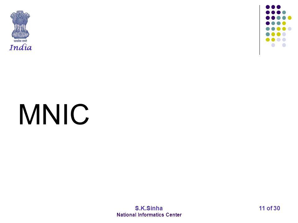 India S.K.Sinha National Informatics Center 11 of 30 MNIC