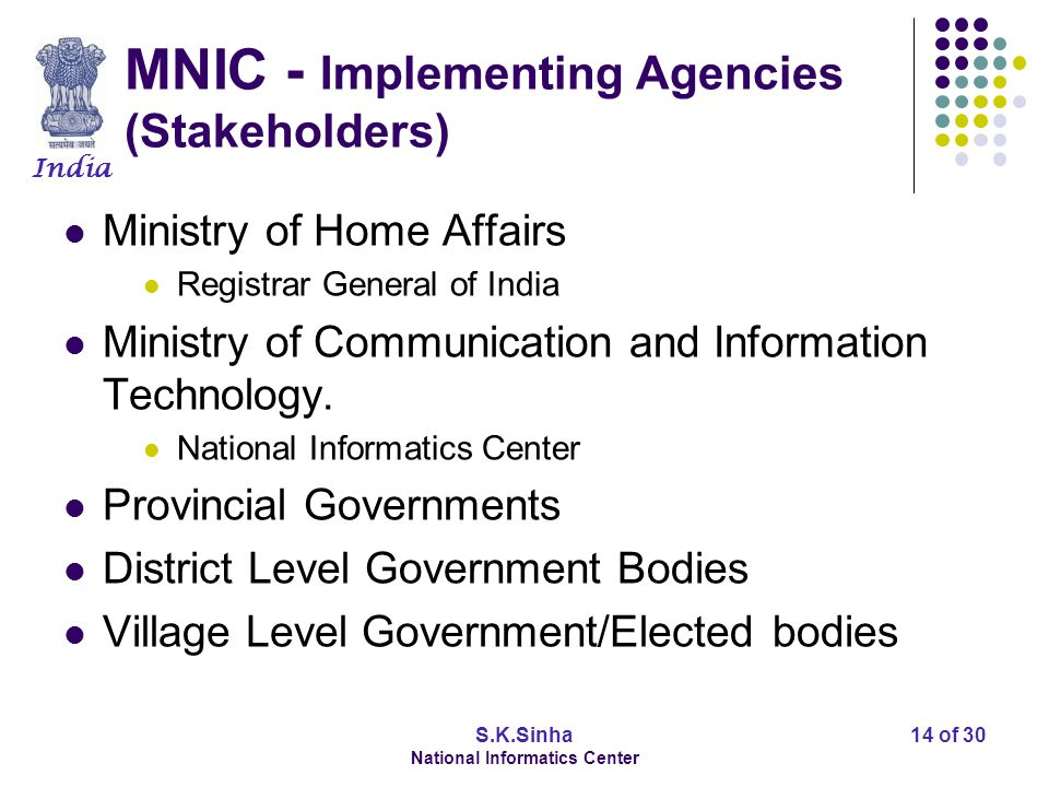 India S.K.Sinha National Informatics Center 14 of 30 MNIC - Implementing Agencies (Stakeholders) Ministry of Home Affairs Registrar General of India M