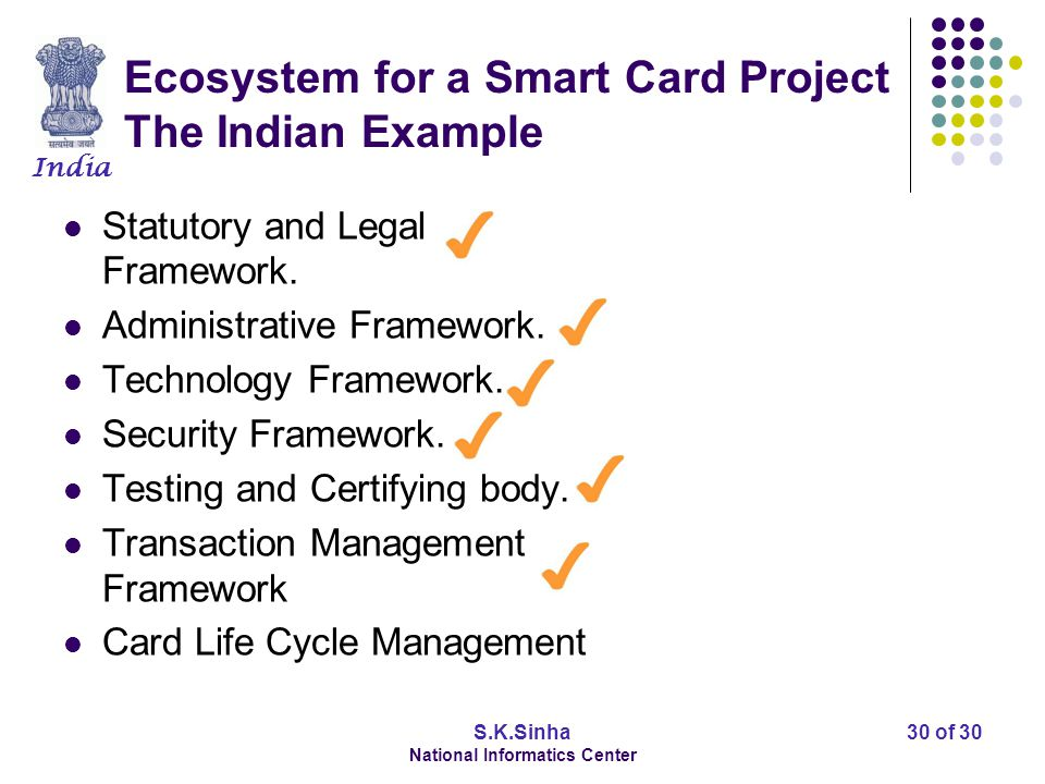 India S.K.Sinha National Informatics Center 30 of 30 Ecosystem for a Smart Card Project The Indian Example Statutory and Legal Framework. Administrati