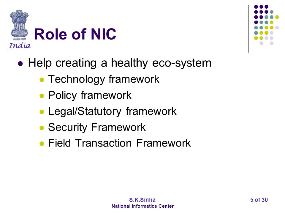 India S.K.Sinha National Informatics Center 5 of 30 Role of NIC Help creating a healthy eco-system Technology framework Policy framework Legal/Statuto