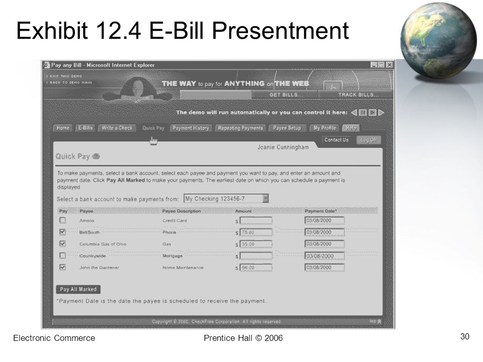 Electronic CommercePrentice Hall © 2006 30 Exhibit 12.4 E-Bill Presentment