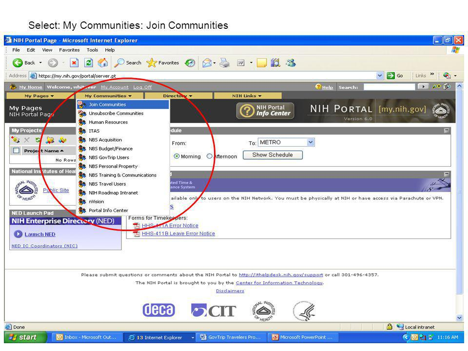 Type in GovTrip in the Search for Communities: Click on