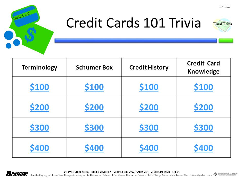 © Family Economics & Financial Education – Updated May 2011– Credit Unit – Credit Card Trivia – Slide 5 Funded by a grant from Take Charge America, Inc.