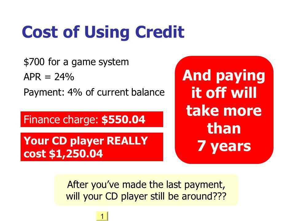 Cost of Using Credit APR = 24% Payment: 4% of current balance $700 for a game system Finance charge: $550.04 Your CD player REALLY cost $1,250.04 Afte