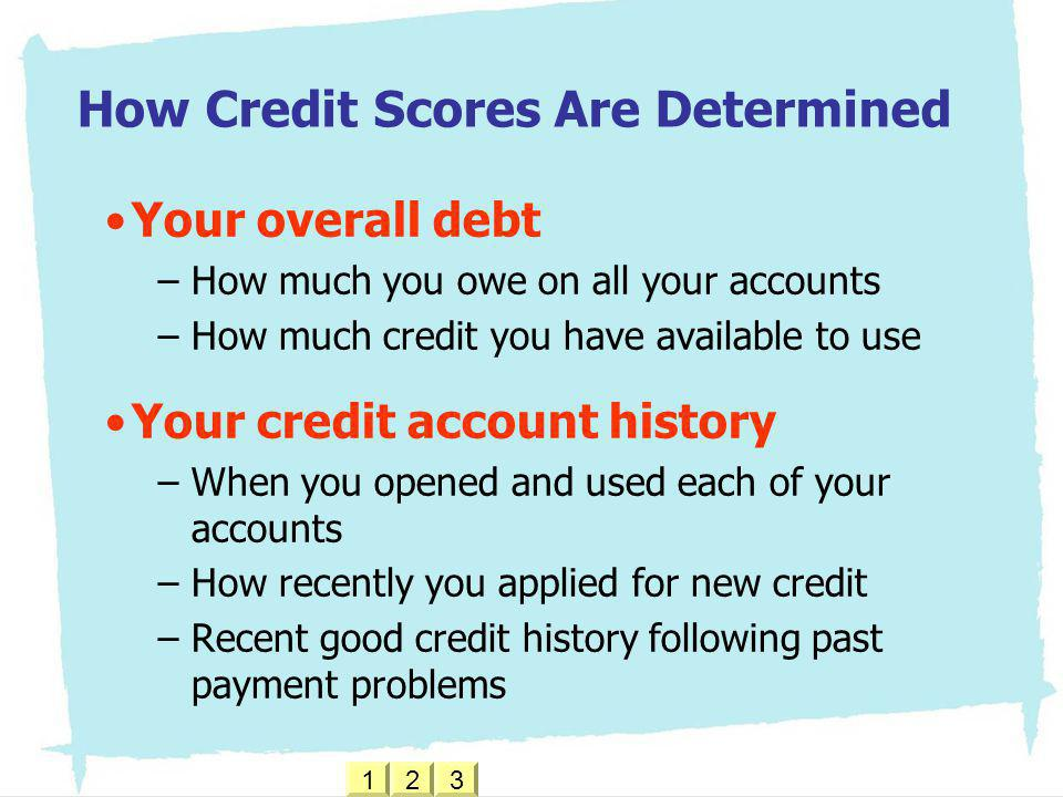 How Credit Scores Are Determined Your overall debt –How much you owe on all your accounts –How much credit you have available to use Your credit accou