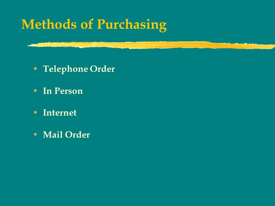 Methods of Purchasing Telephone Order In Person Internet Mail Order