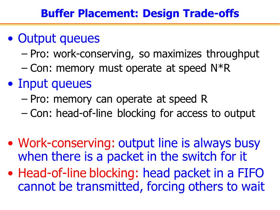 Buffer Placement: Design Trade-offs Output queues –Pro: work-conserving, so maximizes throughput –Con: memory must operate at speed N*R Input queues –