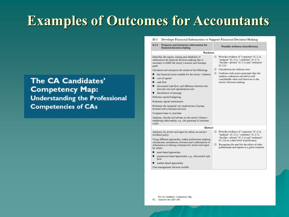 Examples of Outcomes for Accountants