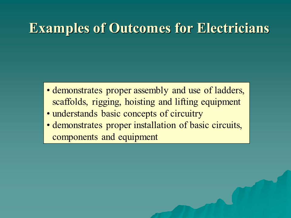 demonstrates proper assembly and use of ladders, scaffolds, rigging, hoisting and lifting equipment understands basic concepts of circuitry demonstrates proper installation of basic circuits, components and equipment