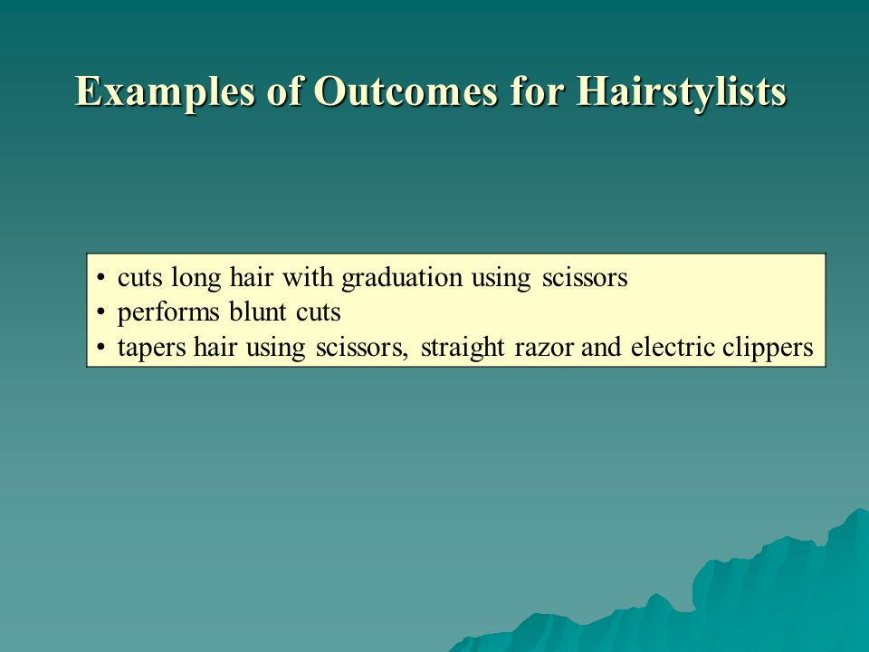 cuts long hair with graduation using scissors performs blunt cuts tapers hair using scissors, straight razor and electric clippers