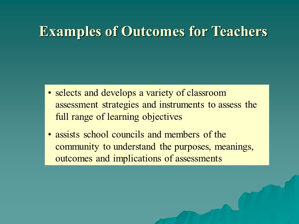 selects and develops a variety of classroom assessment strategies and instruments to assess the full range of learning objectives assists school councils and members of the community to understand the purposes, meanings, outcomes and implications of assessments Examples of Outcomes for Teachers