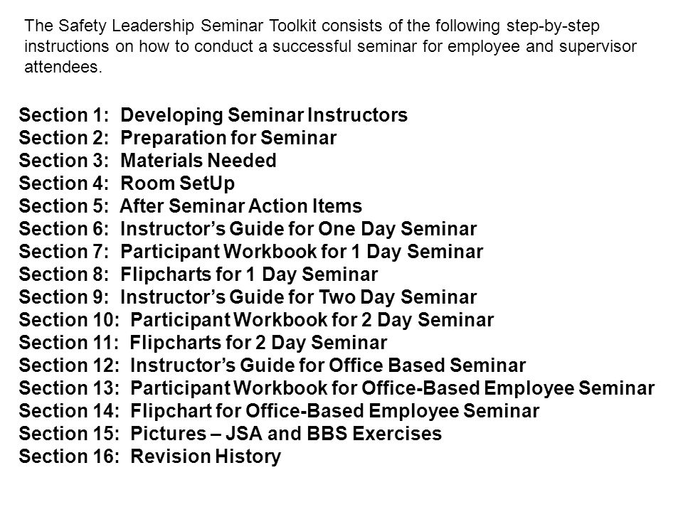 Section 1: Developing Seminar Instructors Who can be a potential instructor.