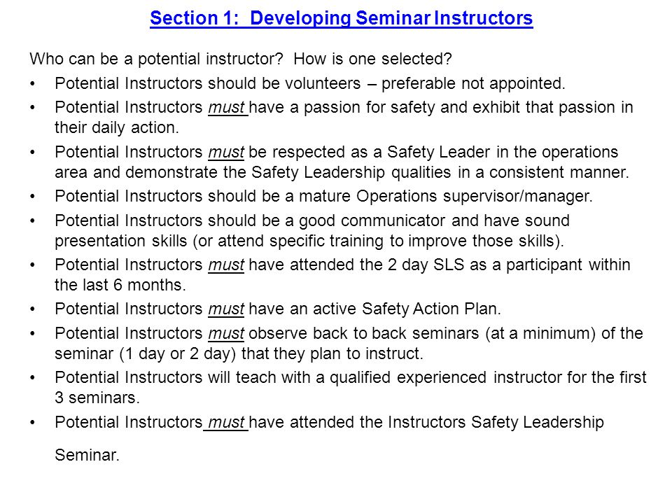 Section 9: Instructors Guide for Two Day Seminar Day One