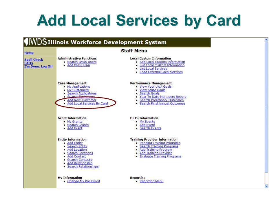 Add Local Services by Card