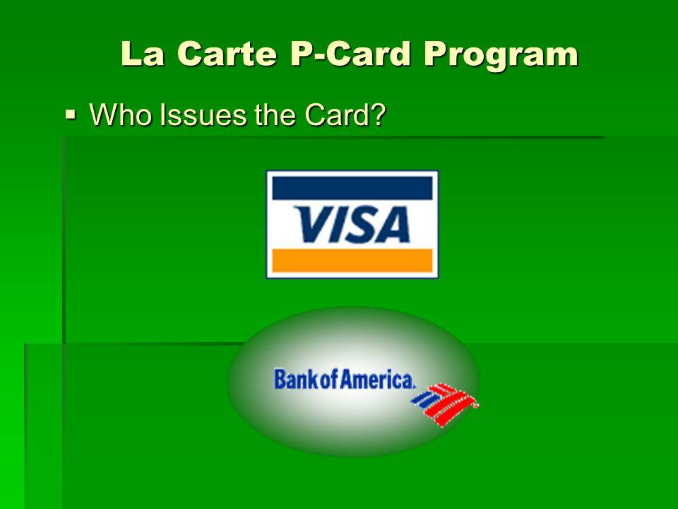 View of La Carte View of La Carte LA State sales tax exempt number LA State sales tax exempt number 128-4900-001 128-4900-001 Cardholders name Cardholders name Southeastern La.