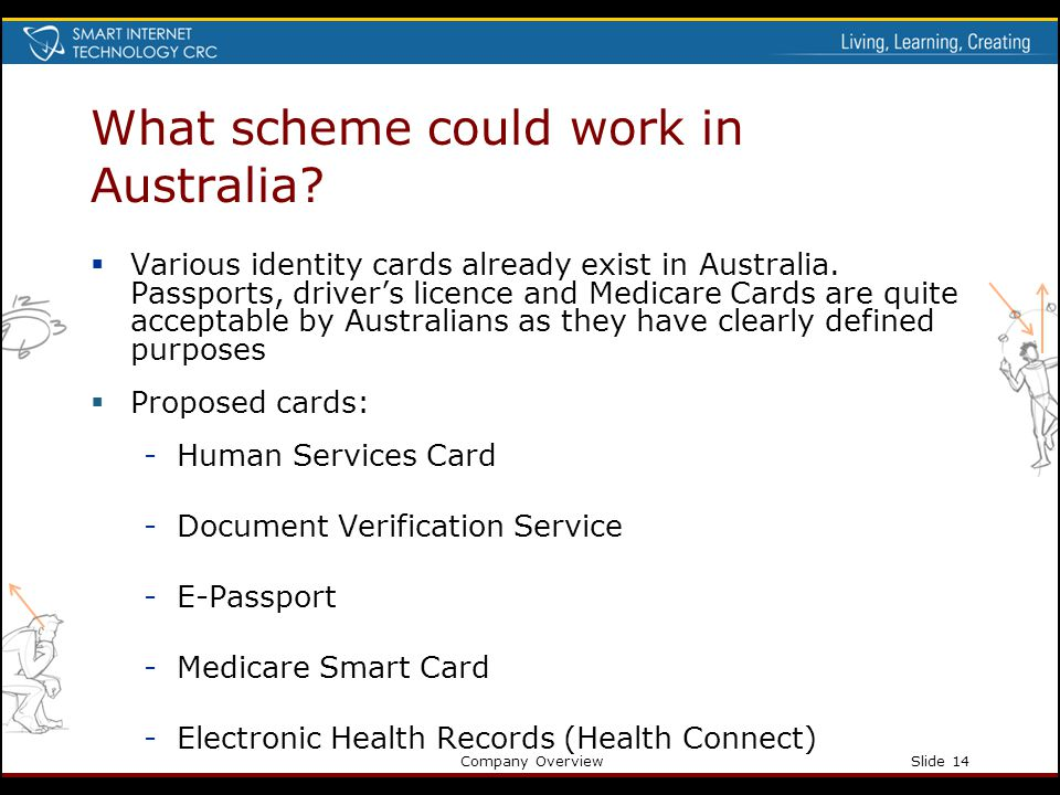 Company OverviewSlide 14 What scheme could work in Australia? Various identity cards already exist in Australia. Passports, drivers licence and Medica