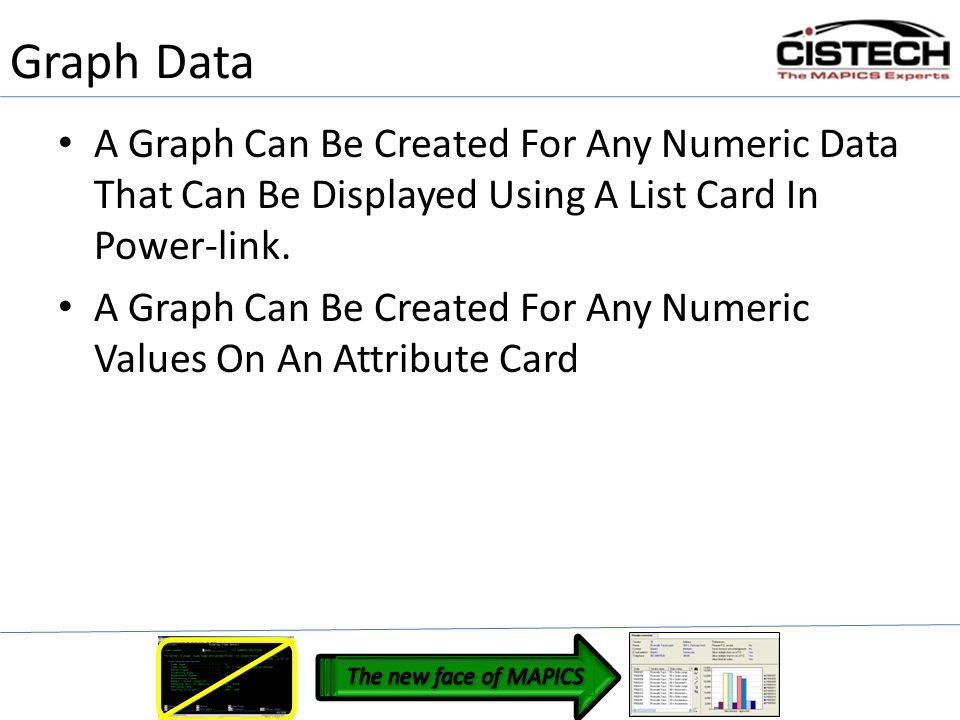 Graph Data A Graph Can Be Created For Any Numeric Data That Can Be Displayed Using A List Card In Power-link.