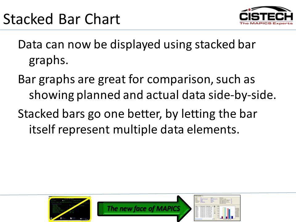 Stacked Bar Chart Data can now be displayed using stacked bar graphs.