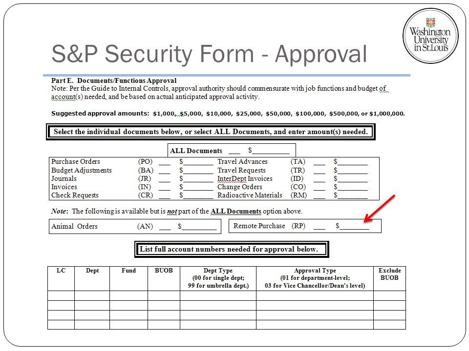 S&P Security Form - Approval