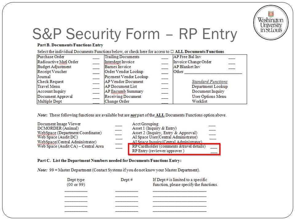 S&P Security Form – RP Entry
