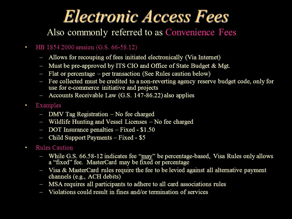Electronic Access Fees HB 1854 2000 session (G.S.