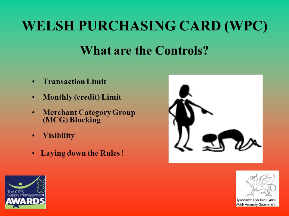 WELSH PURCHASING CARD (WPC) Transaction Limit Monthly (credit) Limit Merchant Category Group (MCG) Blocking Visibility What are the Controls? Laying d