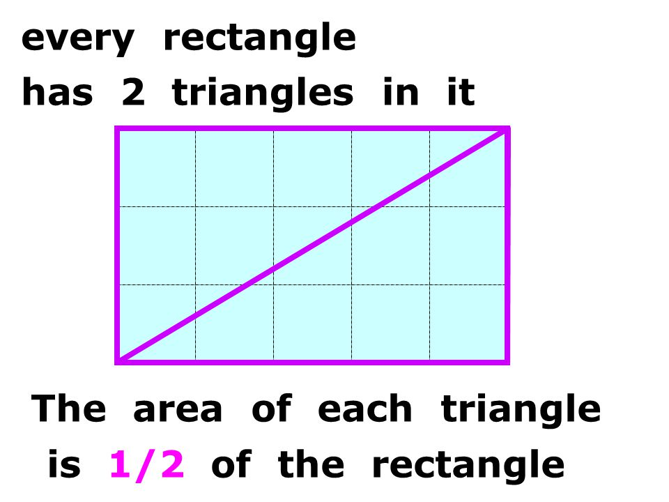 The area of each triangle every rectangle has 2 triangles in it is 1/2 of the rectangle