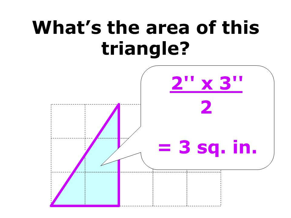 2'' x 3'' = 3 sq. in. 2 Whats the area of this triangle?