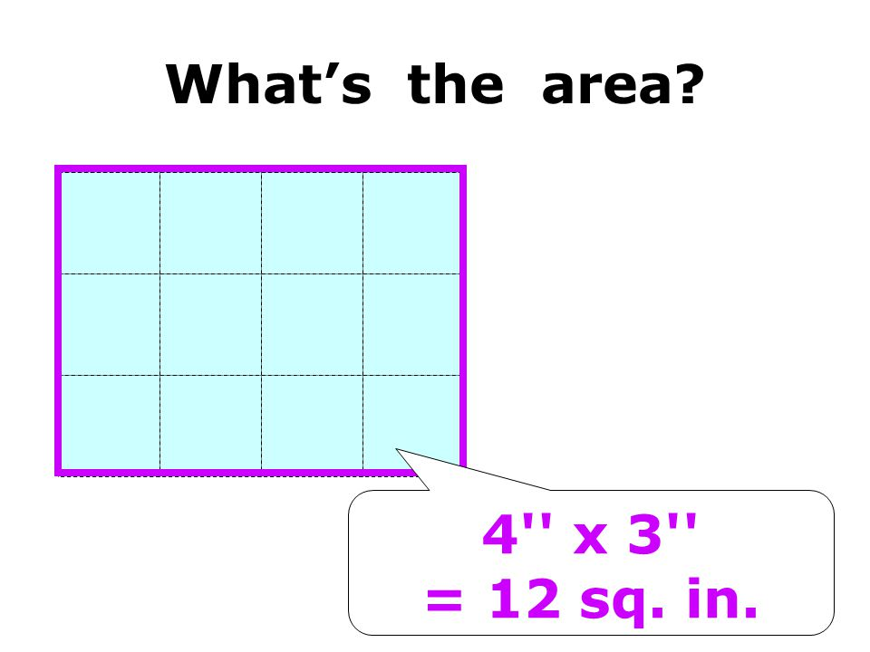 4'' x 3'' = 12 sq. in. Whats the area?